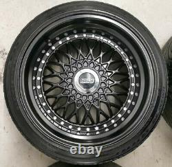 16 Bbs Rs Style Alloy Wheels Black 4x100 8j 9j Bmw E30 Mazda Mx5 Lupo Golf Mk1