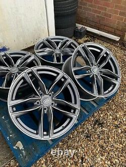 18 RS6 Style Alloy Wheels Only Satin Grey/Diamond Cut to fit Audi A4 (B8 & B9)