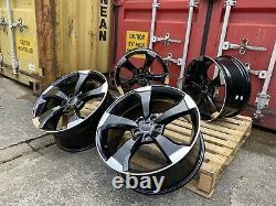 19'' Audi Ttrs Rotor Style Gloss Black Polished Alloy Wheels 5x112 Et35 A4