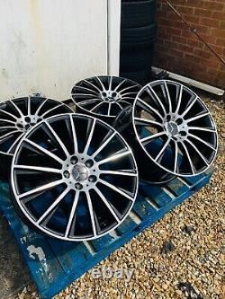 19 Mercedes AMG Turbine Style Alloy Wheels Only Black/Pol Mercedes C-Class W205