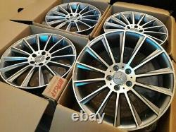 19 Mercedes AMG Turbine Style Alloy Wheels Only Grey/Pol Mercedes C-Class W204