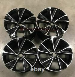 19 New 2020 RS7 Alloy Style Wheels Black Machined Audi A3 A4 A6 VW Golf Caddy