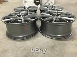 19 RS4 V Spoke Style Alloy Wheels Satin Gun Metal Machined Fits Audi A4 A6 A8