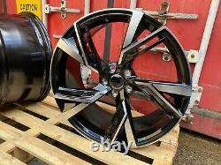 19 RS5 STYLE ALLOY WHEELS FITS AUDI A4 A6 BLACK POLISHED (Fits Audi) Brand new