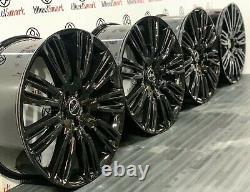 NEW 22 RANGE ROVER V STYLE ALLOY WHEELS 5x120 GLOSS BLACK