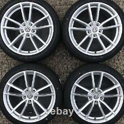 Set VW Golf R 18 Pretoria Style Alloy Wheels 10 Spoke Silver Rims Tyres GTi GTD