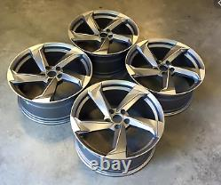 Set of 4x 18 TTRS Twist Style Alloy Wheels Only Grey/Pol to fit Audi A3 (04-on)