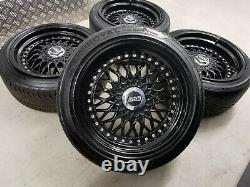 16 Bbs Rs Style Alloy Wheels Noir 4x100 8j 9j Bmw E30 Mazda Mx5 Lupo Golf Mk1