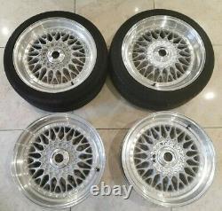 17 Bbs Rs Style Alloy Wheels 4x100 Vw Golf Mk1 Polo Mini Cooper Mx5 Bmw E30 325