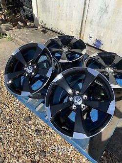 17 Nouvelles Roues En Alliage De Style Rs3 Uniquement Noir/polis Pour Volkswagen Golf Mk 5 6 7