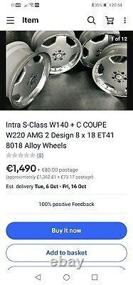 18 Mercedes Amg Monobloc Style Jantes En Alliage Par Intra Allemagne 5x112 A C Classe E