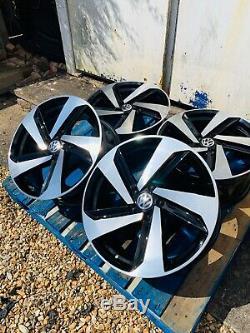 18 Milton Gtd Style Jantes En Alliage Seulement Noir / Pol Pour Volkswagen Golf Mk5 Mk6 Mk7