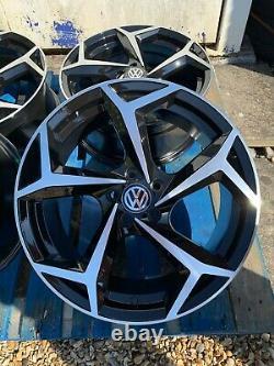 18 Nouvelles Roues En Alliage De Style Gti Seulement Noir / Diamant Coupé Pour S'adapter Volkswagen Golf