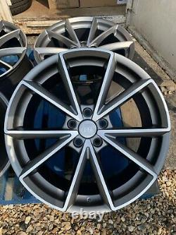 18 Rs4 Style Alloy Wheels Only Satin Grey/diamond Cut Pour S'adapter Audi A4 (b8 & B9)