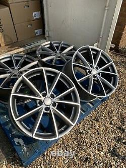 18 Rs4 Style Alloy Wheels Only Satin Grey/diamond Cut To Fit Audi A3 (2004-on)