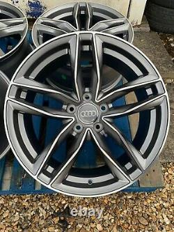 18 Rs6 Style Alloy Wheels Only Satin Grey/diamond Cut Pour S'adapter Audi A4 (b8 & B9)