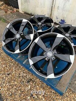 18 Ttrs Rotor Arm Style Alloy Wheels Only Black/diamond Cut Audi A4 (b8 & B9)