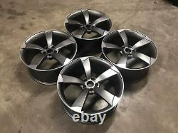 18 Ttrs Style Rotor Roues En Alliage Gun Metal Usinées Audi A3 A4 A6 5x112 66,6