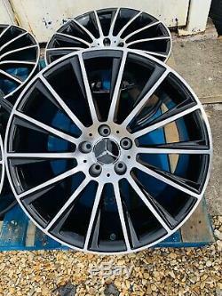 19 Mercedes Amg Turbine En Alliage De Style Roues Seulement Noir / Pol Mercedes Classe C W204