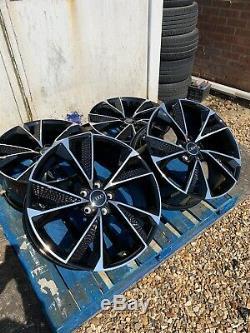 19 Nouveau Style Rs7 Roues En Alliage Noir Brillant Seulement / Diamond Cut Pour Adapter Audi A3