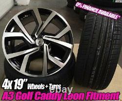19 Vw Golf R Clubsport Style Noir Poli Alliage Roues & Pneus Leon Caddy Gti