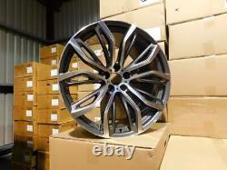 22 Nouveaux X5 X6 375m Style Alloy Wheels Gun Metal Machined Bmw E70 E71 F15 F16