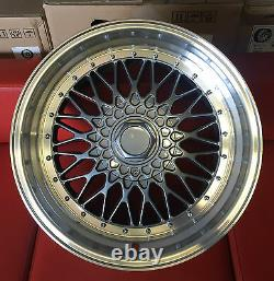 4x 18 Bbs Rs Style Alloy Wheels 5x100 S'adapte Vw Golf Jetta Seat Staggered Fitment