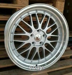 Bbs X4 18 LM Style Alloy Wheels 5x100 Et35 8j Audi Tt A3 Vw Golf Bora Argent