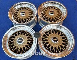 Bmw E28 M5 E24 635 M6 M3 Rc090 Style 5 Bbs Rs Gold 17x8 Wheels Rims +billet Caps