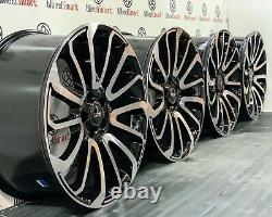 New 22 Range Rover Turbine Style Alloy Wheels 5x120 Gloss Black Diamond Cut