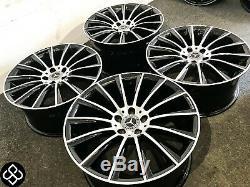 Nouveau 19 Mercedes Amg Turbine Style Jantes 5x112 Noir / Cut Diamond