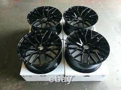 R8 Style 19 Alliage Roues Gloss Black Convient Audi A4 A5 A6 A7 A8 Q3 Q5 Tt Rs5 S4