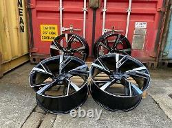 Rs6e Style 19 Roues En Alliage Noir Pol Convient Audi A4 A5 A6 A7 A8 Q3 Q5 Tt Rs5 S4