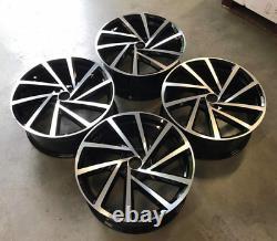 X4 18 Golf R D Style Roues En Alliage Uniquement Noir/pol Pour Volkswagen Golf Mk5 6 7 8